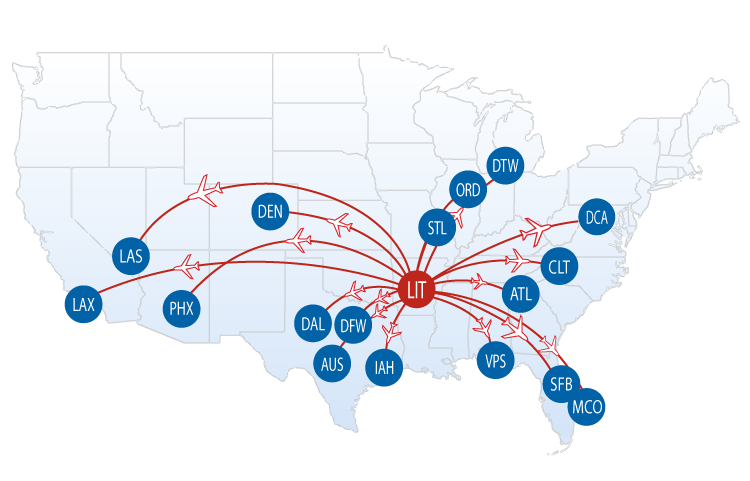 Nonstop Flights From Lit Bill And Hillary Clinton National Airport