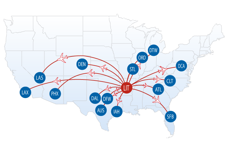 nonstop flights from lit bill and hillary clinton national airport little rock