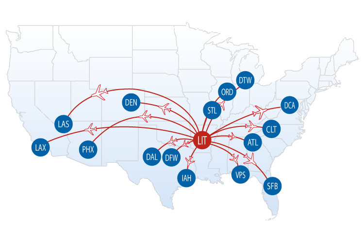 Nonstop Flights from LIT | Bill and Hillary Clinton National Airport on