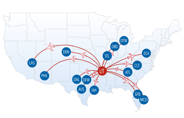 Florida Dca Map.Nonstop Flights From Lit Bill And Hillary Clinton National Airport
